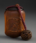 Carvings, A Japanese Bamboo Tonkotsu Depicting Gama Sennin with Carved Ojime and Netsuke. 3-1/2 x 2-1/4 x 1-5/8 inches (8.9 x 5.7 x 4....