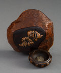 Carvings, A Wood Tonkotsu Depicting Gama Sennin with Wood Ojime and Bowl-Form Netsuke with Metal Prunus Blossom. 1-1/2 x 4 x 3-3/8 inc...