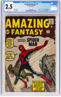 Silver Age (1956-1969):Superhero, Amazing Fantasy #15 (Marvel, 1962) CGC GD+ 2.5 Off-white pages....