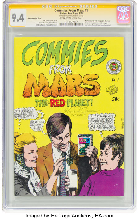Commies From Mars #1 First Printing - Signature Series - Manufacturing Error (Kitchen Sink, 1973) CGC NM 9.4 Off-white to whit...