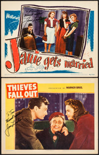 """Thieves Fall Out & Other Lot (Warner Brothers, 1941) Fine/Very Fine. Signed Lobby Cards (2) (11"""" X 14""""). C..."""