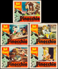 "Movie Posters:Animation, Pinocchio (RKO, R-1954) Fine/Very Fine. Lobby Cards (5) (11"" X 14""). Animation.... (Total: 5 Items)"