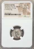 Ancients:Roman Imperial, Ancients: Antoninus Pius (AD 138-161). AR denarius (19mm, 3.21 gm,6h). NGC Choice AU 5/5 - 3/5....