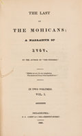 Books:Literature Pre-1900, James Fenimore Cooper. The Last of the Mohicans. ANarrative of 1757. Philadelphia: H. C. Carey & Lea, 1826.Fir... (Total: 2 Items)