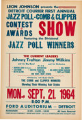 Music Memorabilia:Posters, Aretha Franklin Detroit Courier First Annual Jazz Poll & Clipper Contest Awards Show Ford Auditorium Concert Poste...