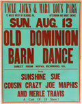 Music Memorabilia:Posters, Merle Travis Uncle Jack's & Mary Lou's Park Concert Poster (Circa 1950). Rare....