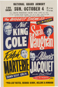 Music Memorabilia:Posters, Nat King Cole/Sarah Vaughn National Guard Armory Concert Handbill (1953). Rare....