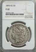 1893-CC $1 Fine 12 NGC. NGC Census: (208/3331). PCGS Population: (390/6659). CDN: $280 Whsle. Bid for problem-free NGC/P...