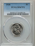 Jefferson Nickels, 1938 5C MS67 Full Steps PCGS. PCGS Population: (31/0). CDN: $410 Whsle. Bid for problem-free NGC/PCGS MS...