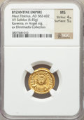 Ancients:Byzantine, Ancients: Maurice Tiberius (AD 582-602). AV solidus (19mm, 4.45 gm,7h). NGC MS 4/5 - 5/5....