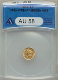 Gold Dollars: , 1849 G$1 Open Wreath AU58 ANACS. NGC Census: (231/1281). PCGSPopulation: (125/966). CDN: $315 Whsle. Bid for problem-free ...