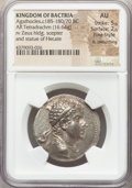 Ancients:Greek, Ancients: BACTRIAN KINGDOM. Agathocles (ca. 185-170 BC). AR tetradrachm (31mm, 16.64 gm, 12h). NGC AU 5/5 - 2/5, Fine Style, light smoot...