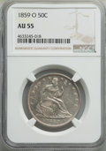 Seated Half Dollars: , 1859-O 50C AU55 NGC. NGC Census: (32/78). PCGS Population: (52/93). CDN: $300 Whsle. Bid for problem-free NGC/PCGS AU55. Mi...