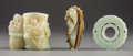 Carvings, Three Chinese Carved Jade Pieces. 2-3/8 x 3 x 2 inches (6.0 x 7.6 x 5.1 cm) (largest, cup). ... (Total: 3 Items)
