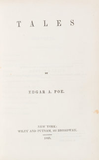Edgar A[llan]. Poe. Tales. New York: Wiley & Putnam, 1845. First edition, first printing, with