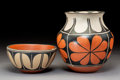 American Indian Art:Pottery, Two Santo Domingo Polychrome Vessels. D. Aguilar and Arthur and Hilda Coriz... (Total: 2 Items)