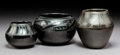 American Indian Art:Pottery, Three San Ildefonso Blackware Jars... (Total: 3 Items)