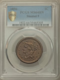 Large Cents, 1856 1C Slanted 5 MS64 Brown PCGS Gold Shield. PCGS Population: (85/37 and 0/0+). NGC Census: (0/0 and 0/0+). CDN: $400 Whs...