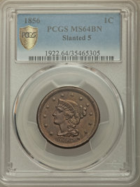 1856 1C Slanted 5 MS64 Brown PCGS Gold Shield. PCGS Population: (85/37 and 0/0+). NGC Census: (0/0 and 0/0+). CDN: $400...