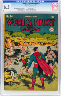 World's Finest Comics #14 (DC, 1944) CGC FN+ 6.5 Off-white to white pages