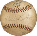 Baseball Collectibles:Balls, 1933 Babe Ruth's Final Career Pitched Baseball Signed by Ruth,Gehrig and Last Out Victim George Stumpf....