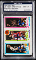 Autographs:Sports Cards, 1980 Topps Bird/Erving/Johnson PSA/DNA Gem MT 10 - Signed by All Three!...