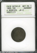 Early Dimes: , 1805 10C 4 Berries Poor1--Graffiti--ANACS, Fair Details JR-2....