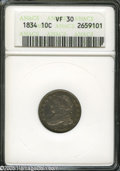 Bust Dimes: , 1834 10C Small 4 VF30 ANACS. ...