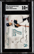"""Baseball Cards:Singles (1970-Now), 2000 Fleer Tradition Update Mickey Mantle Jersey Relic Card SGC Gem Mint 10 - """"Mantle Pieces"""" Material...."""