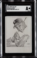 Baseball Cards:Singles (1970-Now), 2001 Topps Gallery Willie Mays Black Printing Plate #50 SGC Authentic - 1/1....