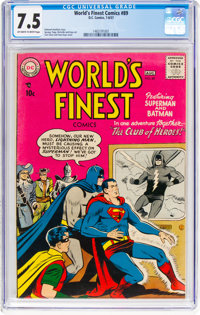 World's Finest Comics #89 (DC, 1957) CGC VF- 7.5 Off-white to white pages