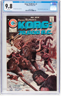 Korg: 70,000 B.C. #1 (Charlton, 1975) CGC NM/MT 9.8 White pages