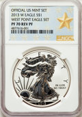 Modern Bullion Coins, 2013-W $1 Reverse Proof Silver Eagle, West Point Mint Set PR70 NGC. NGC Census: (5030). PCGS Population: (1732)....
