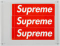 Prints & Multiples:Contemporary, Supreme . Stickers (Red) (three works), n.d.. Offset lithograph in colors on adhesive stickers. 2-1/4 x 8 inches (5.7 x ...