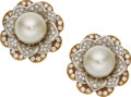 Estate Jewelry:Earrings, South Sea Cultured Pearl, Diamond, Platinum, Gold Earrings, Elan . ...