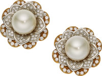 South Sea Cultured Pearl, Diamond, Platinum, Gold Earrings, Elan