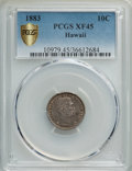 Coins of Hawaii , 1883 10C Hawaii Ten Cents XF45 PCGS Gold Secure. PCGS Population:(115/397 and 0/3+). NGC Census: (57/272 and 0/1+). CDN: $...