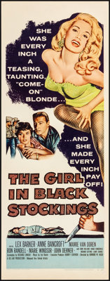 """The Girl in Black Stockings (United Artists, 1957) Very Fine. Insert (14"""" X 36""""). Crime"""