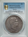 Coins of Hawaii , 1883 $1 Hawaii Dollar -- Cleaning -- PCGS Genuine Gold Shield. XFDetails. NGC Census: (75/329 and 0/3+). PCGS Population: ...