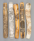 Carvings, A Group of Five Japanese Carved Staghorn and Bone Pipe Cases, 19th century. 8-3/8 inches (21.3 cm) (longest). ... (Total: 5 Items)