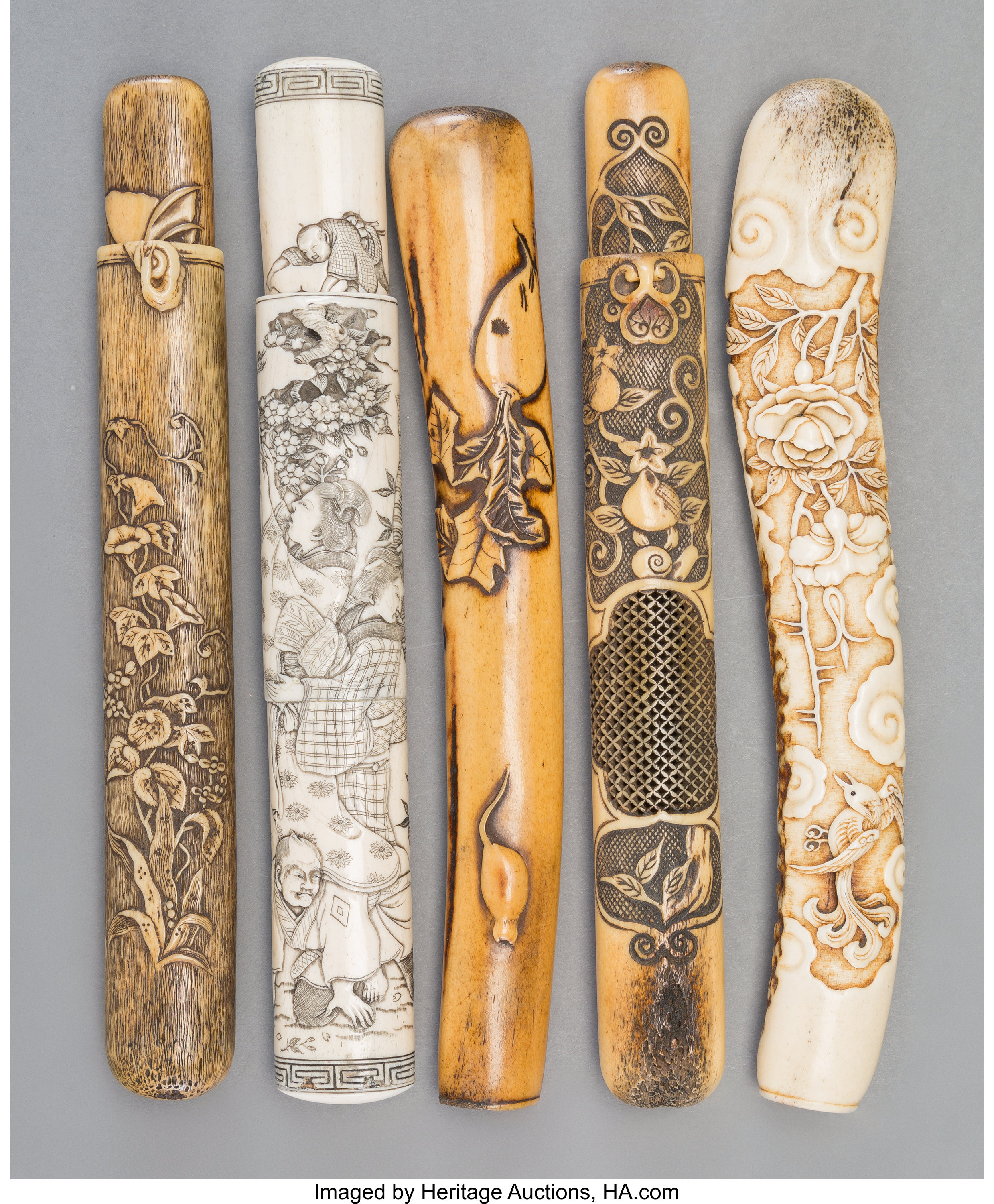 A Group Of Five Japanese Carved Staghorn And Bone Pipe Cases 19th Lot 78396 Heritage Auctions