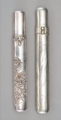 Silver & Vertu, A Set of Two Japanese Silver and Copper Pipe Cases. 7-7/8 inches (20.0 cm) (longer). ... (Total: 2 Items)