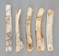 Carvings, A Group of Five Japanese Carved Staghorn Pipe Cases, 19th century. 8-1/2 inches (21.6 cm) (longest). ... (Total: 5 Items)