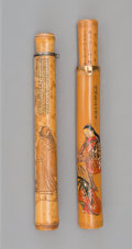 Carvings, A Set of Two Chinese Carved Bamboo Figural Pipe Cases, circa 1900. 8-3/8 inches (21.3 cm) (longer). ... (Total: 2 Items)