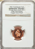 "Four-Piece (2011) Smithsonian ""Restrike"" 1861 Confederate Cent, Gem Proof NGC. Bertram B861-239 to B861-242. 1..."