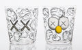 Collectible:Contemporary, KAWS (American, b. 1974). Seeing/Watching, set of four glasses, 2018. Etched glasses. 3-1/4 x 3-1/8 x 3-1/8 inches (8.3 ...