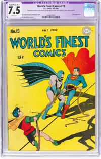 World's Finest Comics #19 (DC, 1945) CGC Apparent VF- 7.5 Slight to Moderate (A-2) White pages