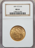 Liberty Eagles, 1891-CC/CC $10 FS-501 MS61 NGC. Variety 3-C....