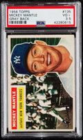 Baseball Cards:Singles (1950-1959), 1956 Topps Mickey Mantle (Gray Back) #135 PSA VG+ 3.5....