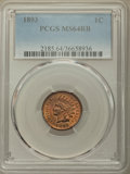 Indian Cents: , 1893 1C MS64 Red and Brown PCGS. PCGS Population: (347/42). NGC Census: (196/92). CDN: $260 Whsle. Bid for problem-free NGC...